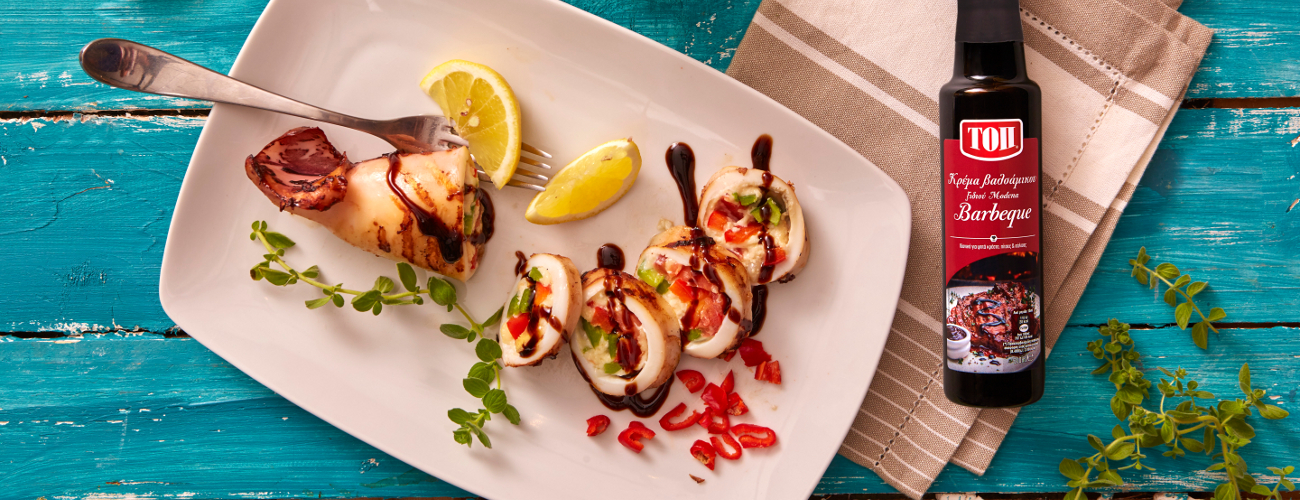 GRILLED STUFFED SQUID WITH TOP BALSAMIC CREAM BARBEQUE SAUCE